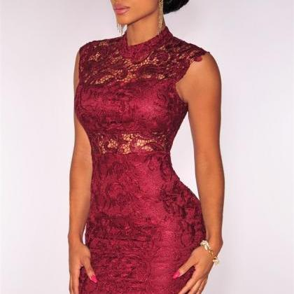 Fashion Women Elegant Burgundy Lace..