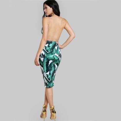 Backless Fitted Slip Dress Green Tr..