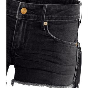 Black Denim Frayed Hem Shorts Featu..