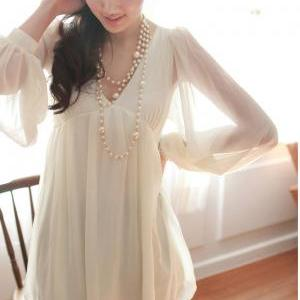Cute Apricot V-Neck Solid Chiffon B..