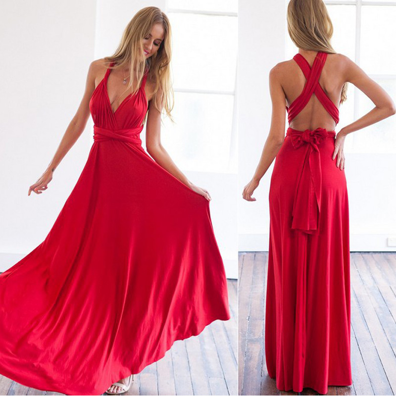 Sexy Women Boho Maxi Club Dress Red Bandage Long Dress Party Multiway Bridesmaids Convertible