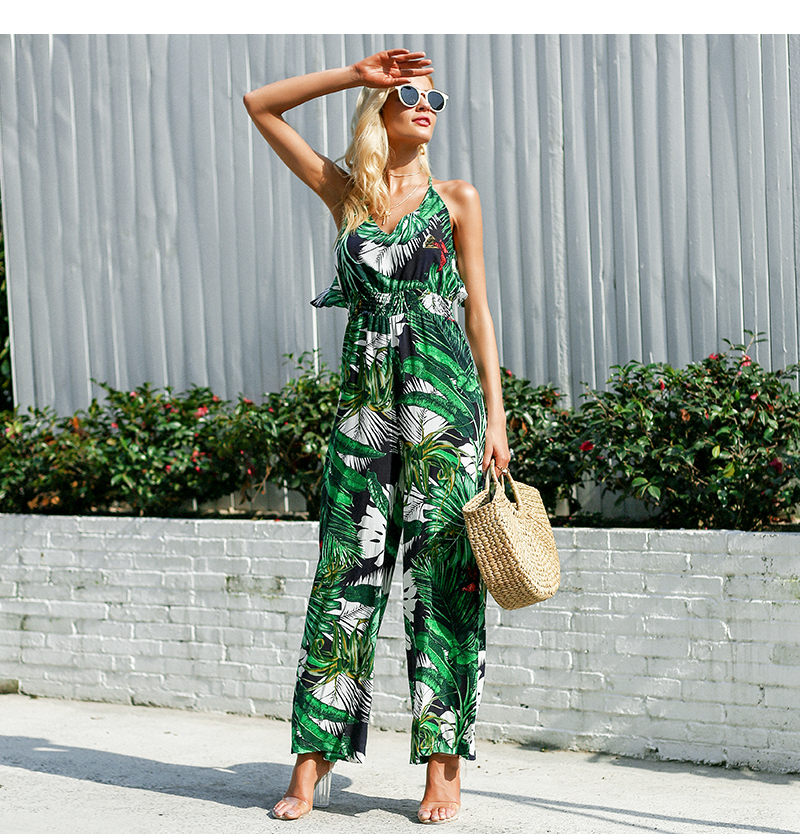 Leaf print sexy jumpsuit Boho green rompers
