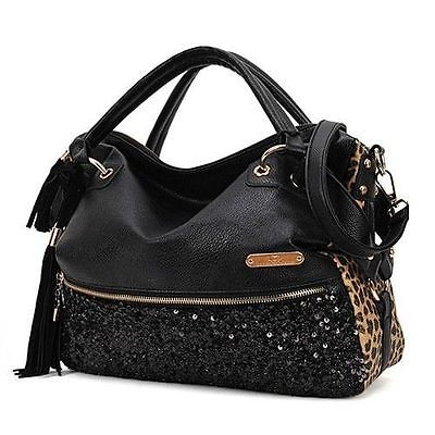 Fashion Women Lady Casual All-match Leopard Print Paillette Handbag Shoulder Bag