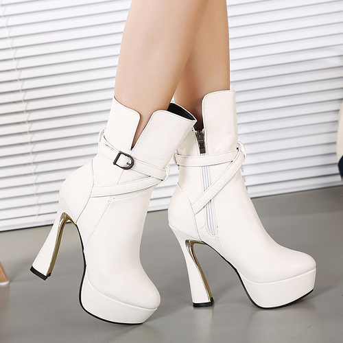 Cheap Winter Fashion Round Toe Zipper Design Buckle Decorated Chunky Super High Heel White PU Ankle Martens Boots