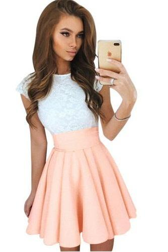 Women Summer White Lace Party Dress New Style Cute Elegant O-neck Mini Dresses