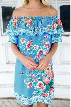 Blue Off Shoulder Floral Printed Ruffled Boho Dress