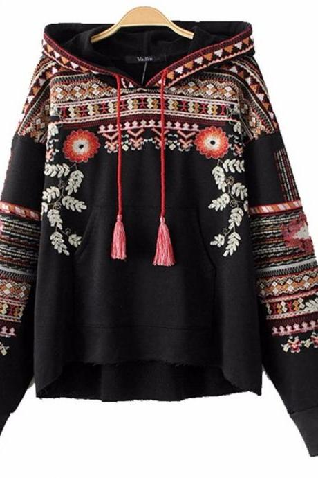 Vintage totem geometric embroidery hooded sweatshirt oversized