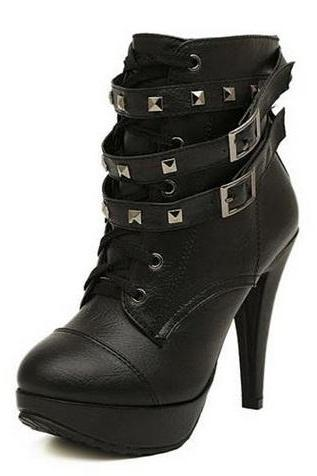 New Women Black Ankle Boots Motorcycle Thin High Heel Double Buckle Gothic Punk