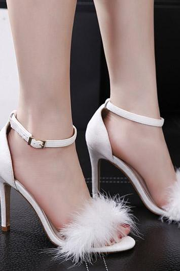 Faux Fur Faux Suede Open-Toe Ankle Straps High Heel Sandals