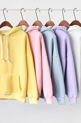 Drawstring Hood Long Cuffed Sleeves Pullover