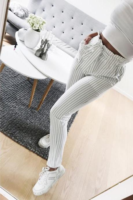 OL chiffon high waist harem pants bow tie drawstring sweet elastic waist pockets casual trousers