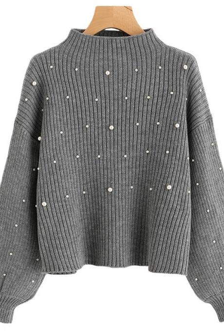 Pearl Embellished Grey Ribbed Knit Mock Neck Long Cuffed Sleeves Sweater