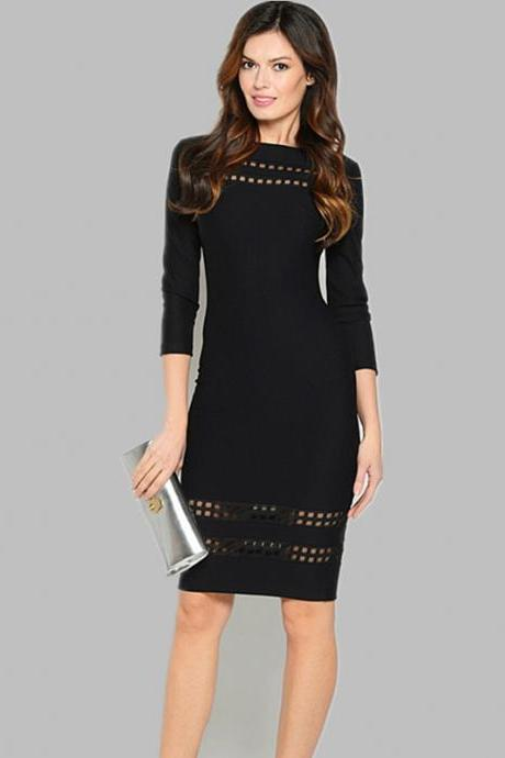 Black Casual Dress with Cut Out Detail