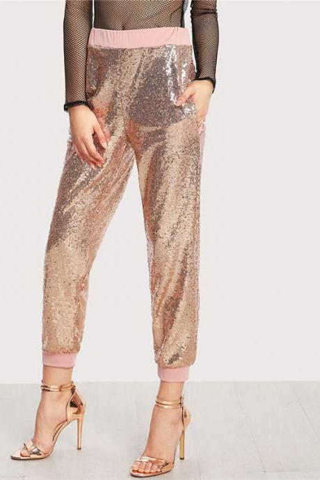 Mid Waist Contrast Trim Sequin Pants Gold Elastic Waist Carrot Plain Pants With Pocket Women Party Trousers