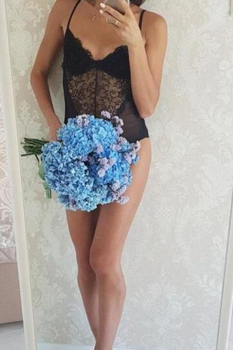 Sexy backless lace bodysuit Perspective black skinny fringe jumpsuit romper women Summer party playsuits