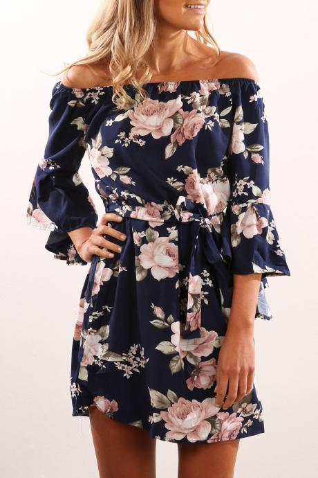 Sexy Off Shoulder Slash Neck Office Dress Summer Floral Print Beach Dress Casual Flare Sleeve Women