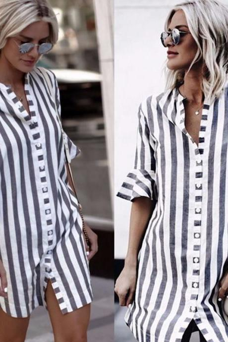 black and white striped dress casual flare half-sleeved
