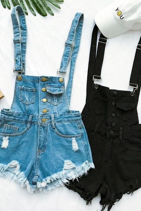 Denim Playsuits Cotton Strap Rompers