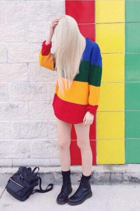 Vintage Jumper Long Sleeve Rainbow Sweater Loose Stripe Knitted Pullover