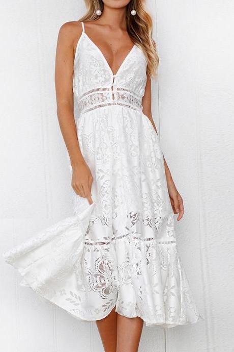 Strap Backless Women Dress Sexy V Neck button Lace Dresses Casual White Beach Dress