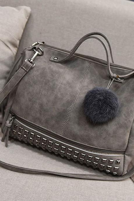 Handbags Rivet Larger Women Bags Hair Ball Shoulder Bag Motorcycle Messenger Bag
