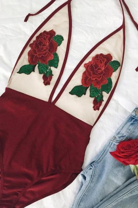 Sexy Rose Embroidery Overalls See Through Beach Bodysuits