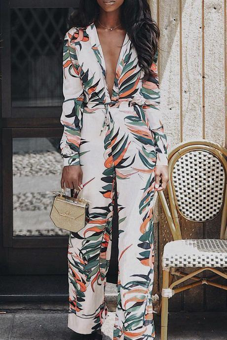 Casual Printed Multicolor Blending One-piece Jumpsuit