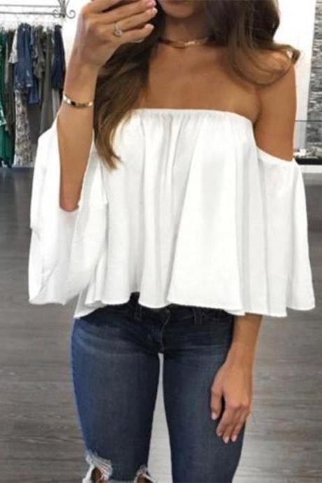Off Shoulder Top Long Sleeve Blouse
