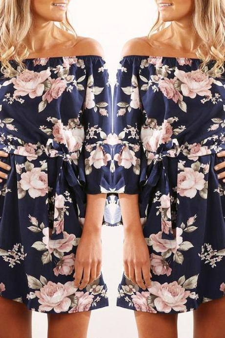 Sexy Off Shoulder Floral Print Chiffon Dress Boho Style Short Party Beach Dresses