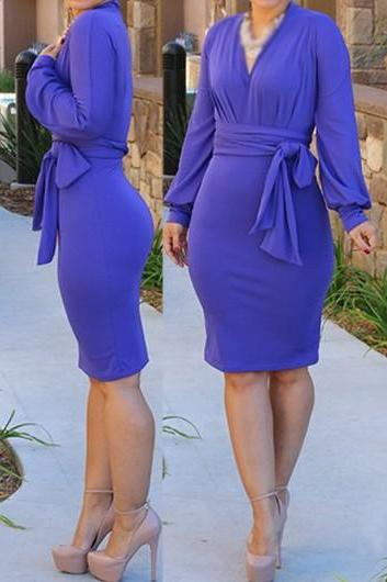 Long Sleeve V Neck Belted Blue Dress