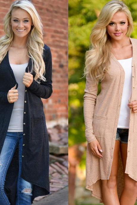 Cardigan Loose Sweater Long Sleeve Knitted Cardigan Outwear Jacket Coat