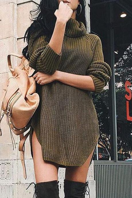 Womens Fall Fashion Sexy High Neck long Sweaters Autumn Loose Long Sleeve Sexy Coarse Lines Knitted Pullovers