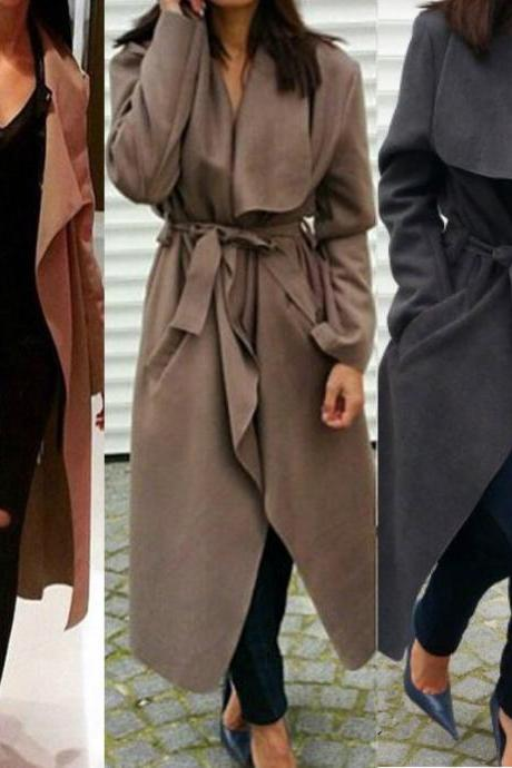 Winter Italian Waterfall Belted Long Sleeve Coat Jacket Trench Coat