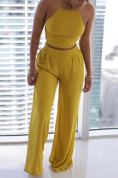 Charming Round Neck Sleeveless Ruched Yellow Twilled Satin Two-piece Pants Set