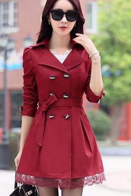 Trench Coat For Women Spring Coat Double Breasted Lace