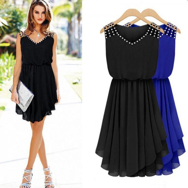 Summer Beach Chiffon Sleeveless Party Evening Cocktail Short Mini Dress