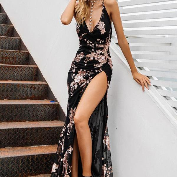 Sexy lace up halter sequin party dresses women Blackless high split maxi dress womens clothing