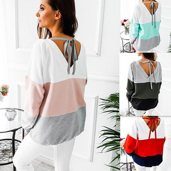 Striped Three color Patchwork Pullovers