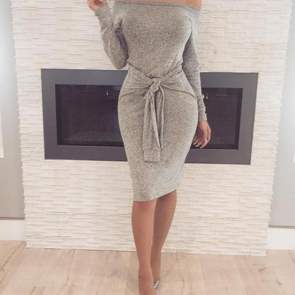 Slash Neck Winter Sexy Bodycon Dress