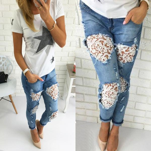 Women Destroyed Ripped Distressed Slim Denim Pants Boyfriend Lace Jeans Trousers Lace Jeans
