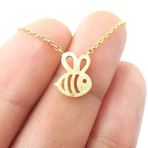 Jewelry Bumble Bee Necklace Shaped Cute Insect Charm Pendant Long Necklace
