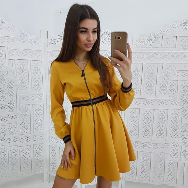 V-neck long-sleeved dress fashion waist elastic Slim zipper dress