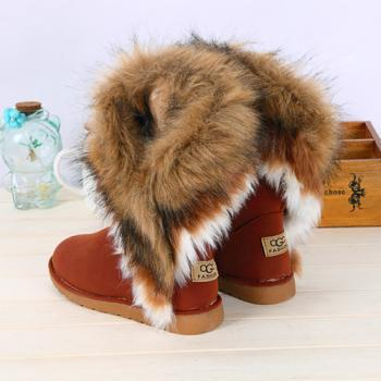 Cheap Women's Snow Boots Sexy Chestnut Winter Warm Artificial Fur Ankle Boots