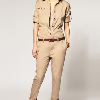 New Style Long Sleeves Single-breasted Pockets Designed Solid Beige Cotton Blend One-piece Regular Jumpsuit