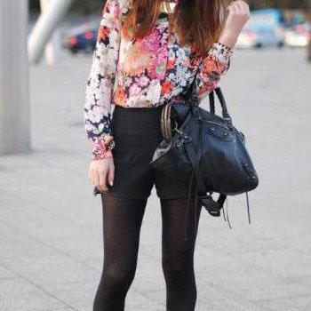 Sweet Floral Print Turndown Collar Long Sleeves Chiffon Blouse
