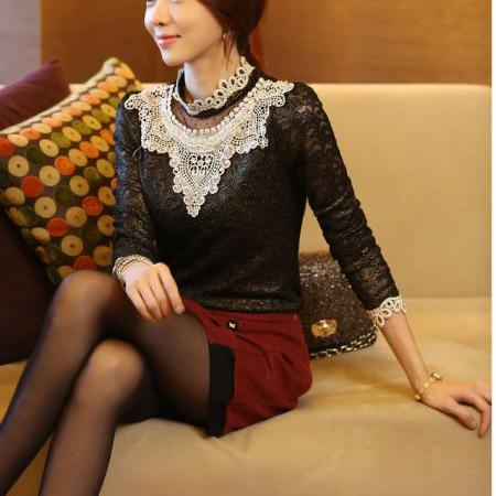 Hot Selling Winter Blouse Add Wool Floral Pattern Long Sleeve Top Black Stand Collar Blouse
