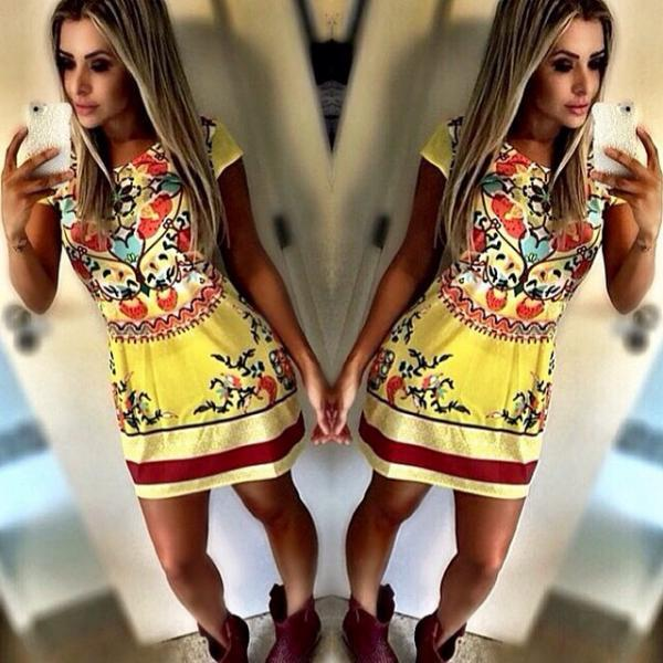 Sexy Women Celeb Floral Print Summer Short Sleeve Lady Slim party Dress