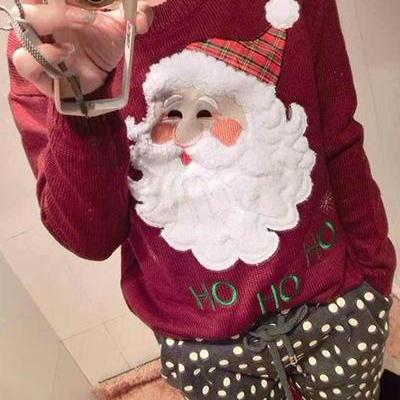 Father Christmas Printed Red Cotton Sweater